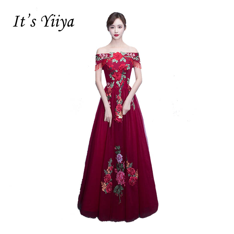 It's YiiYa Off Shoulder Sweetheart Prom Dresses Simple Lace Up Embroidery Flower Tulle Floor Length Sex Luxury Evening Gown X231