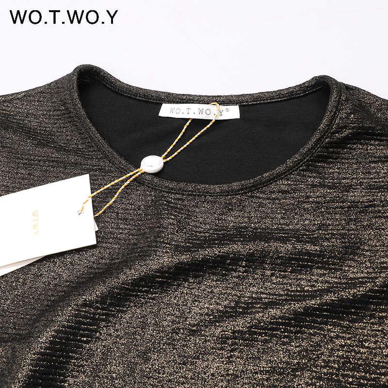 WOTWOY verano brillante Lurex tapas mujer básica camiseta Casual cuello redondo Camiseta mujer sólido algodón camiseta manga corta elástico 2017