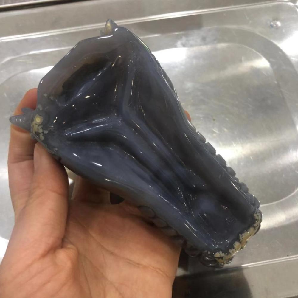 Изумительный натуральный агат камень жеод кристалл резьба голова дракона череп для украшения FMX