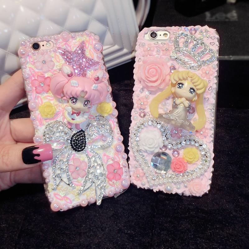 Anime Sailor Moon Chibi Usa için Bling Bling DIY Krem Kılıfları galaxy s6 s8 S8 artı telefon 7 için 7 artı