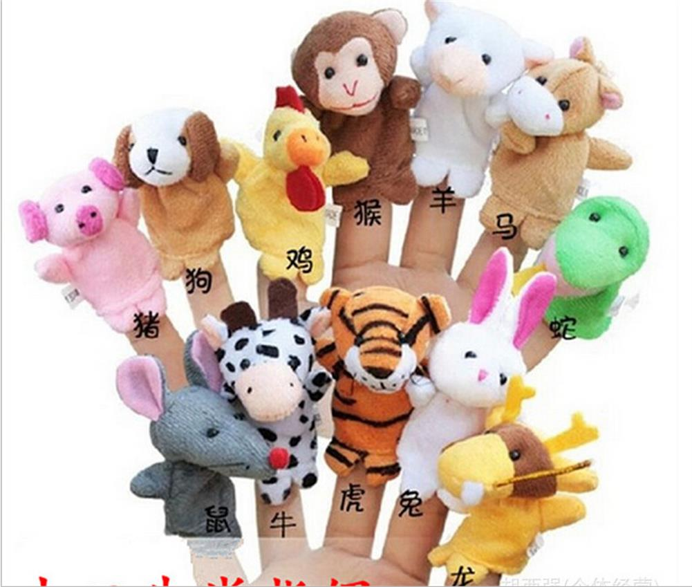 Family Finger Puppets Cloth Doll Baby Educational Hand Cartoon Animal Toy