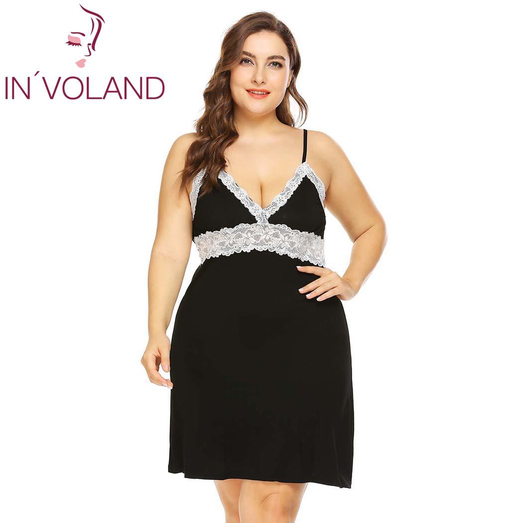 IN'VOLAND Women Sleepwear Dress Plus Size XL-5XL Sleeveless Sexy V-Neck Lounge   Nightgowns     Sleepshirts   Cami Dresses Vestidos