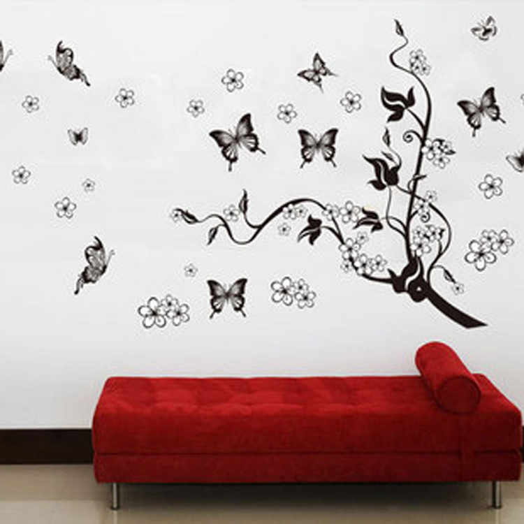 High Quality Flying Butterfly Love Flowers Black Tree Wall Sticker Decor  Vinyl Art Wall Decal Sticker Bedroom Livingroom Mural In Wall Stickers From  Home ... Part 46