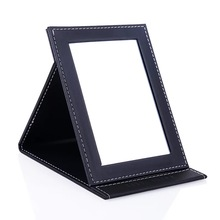 1PC Fashion Women Ladies Make Up Mirror Cosmetic Folding Portable leather Makeup Tool Nice Gift