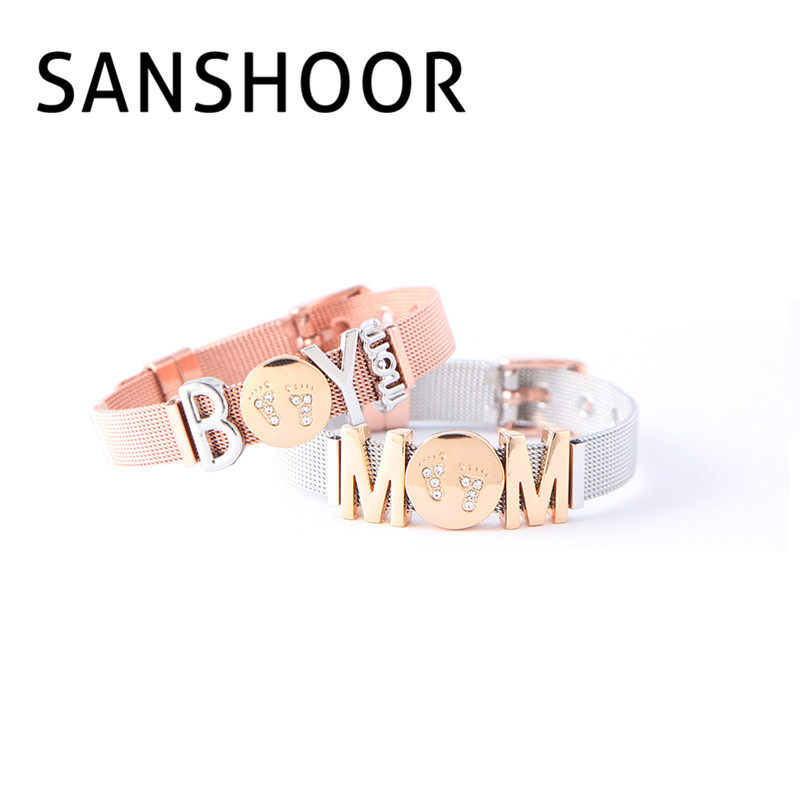 Sanshoor мальчик мама держать браслет наборы с DIY Слайд Подвески и сетка из нержавеющей стали браслет как День Матери подарок