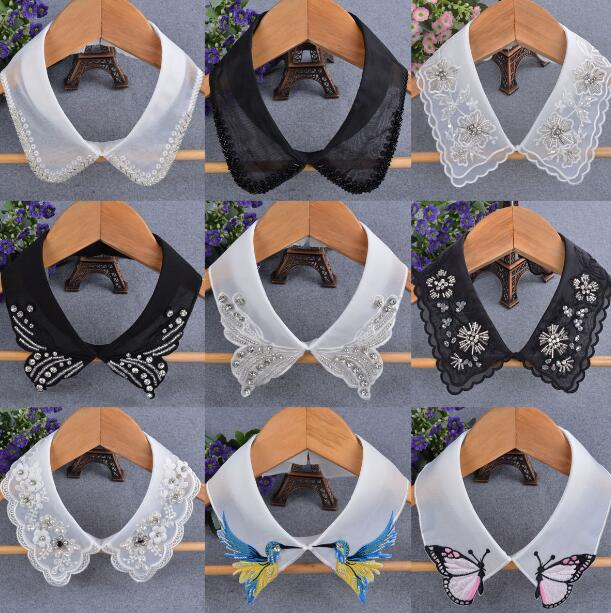 Women's Fashion Lace Chiffon Fake Collar Lady's White Black Beaded Embroidery Rhinestone Ties & Detachable Collar R490
