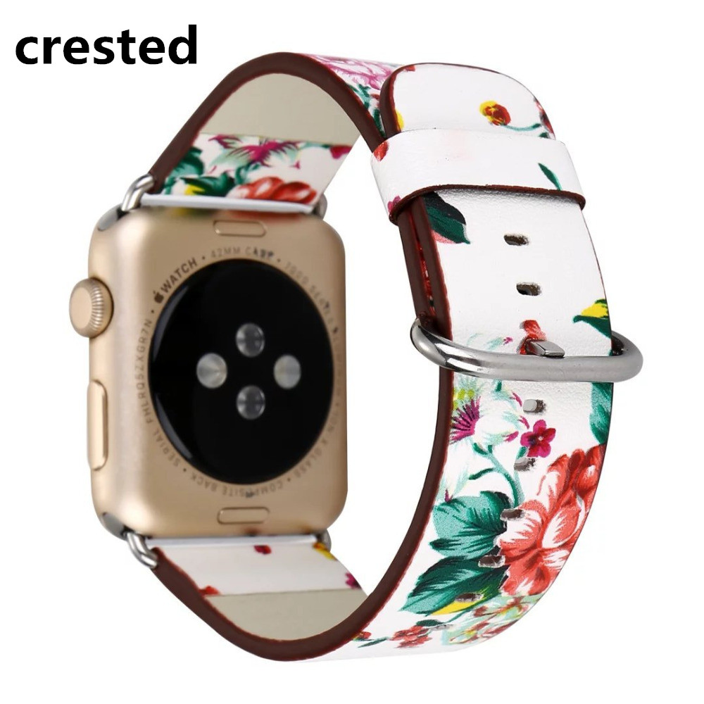 CRESTED Flower Leather strap For Apple Watch band 42mm/38mm correa iwatch 3 2 1 Floral Printed wristband Bracelet watchband belt ashei fashion flower design strap for apple watch 3 band leather series 2 1 floral printed bracelet 38mm for iwatch bands 42mm