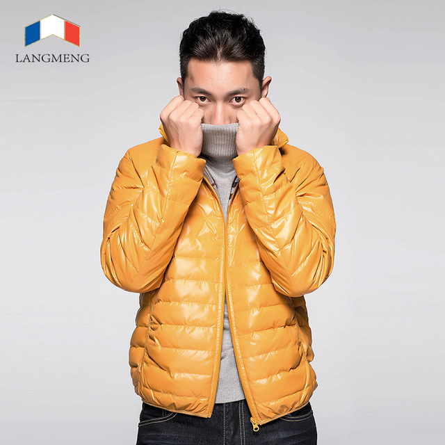 Langmeng 2016 hombres de invierno super caliente abajo chaqueta de moda estilo outwear hombres casual corto abrigos súper ligero caliente pato abajo escudo