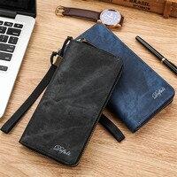 New Long Wallet Vintage Pu Leather Big Capacity Zipper Cell Phone Card Holder Long Men Wallet