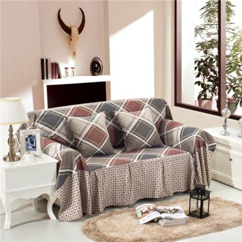 1/2/3/4 Seater Checked Linen Blend Slipcover Checked Sofa
