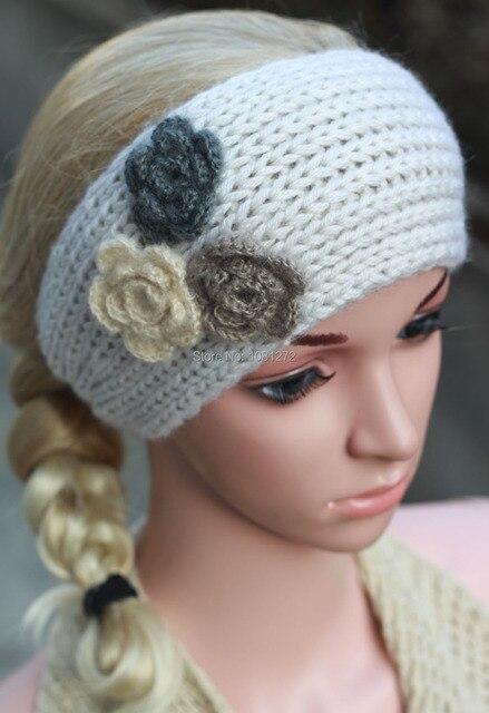 Three Flowers White Knit Headbandcute Turban Headbandearwarmer