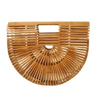 Hot Women Half Round Bamboo Clutch Bag Beach Bags 3 Colors Can Choose Free Shipping