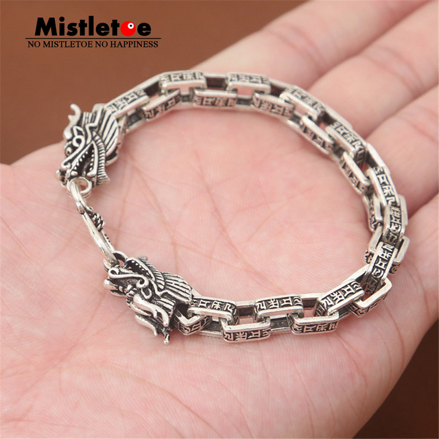 Authentic 925 Sterling Silver Vintage Punk Locomotive Dragon Scripture Bracelet 20cm For Women & Men Jewelry