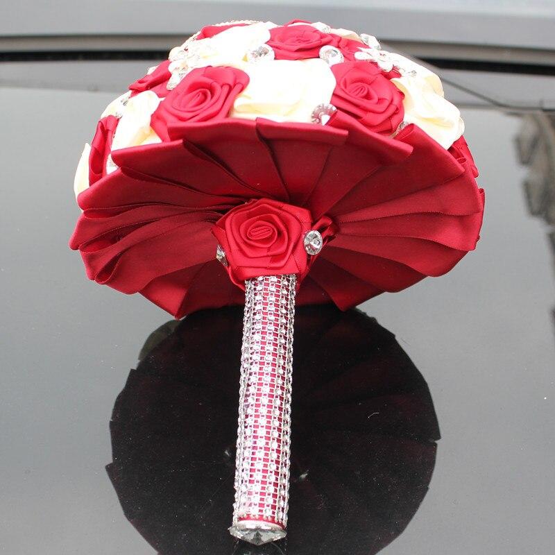 WifeLai-A 1PC Custom Stunning Röd Ivory Wedding Bouquet Crystal - Bröllopstillbehör - Foto 2