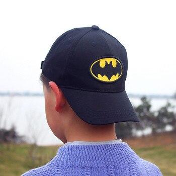 Высококачественная детская бейсболка с вышитым рисунком Бэтмена, черная бейсболка для мальчиков и девочек, детская летняя хлопковая бейсболка с Бэтменом DS19