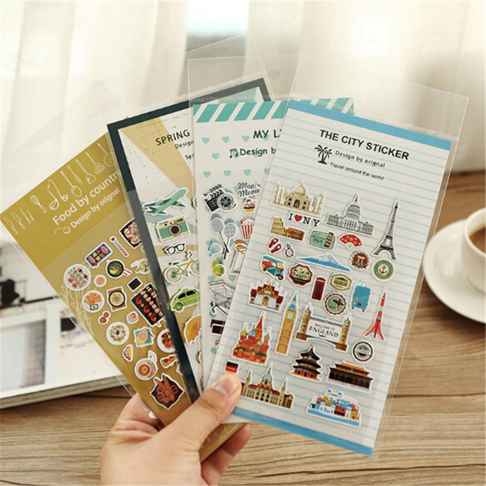 Office & School Supplies Well-Educated 2 Pcs/pack Diy Decoration Sticker Vintage Travel Food Pvc Paper Sticker For Album Diary Scrapbooking Planner Stationery