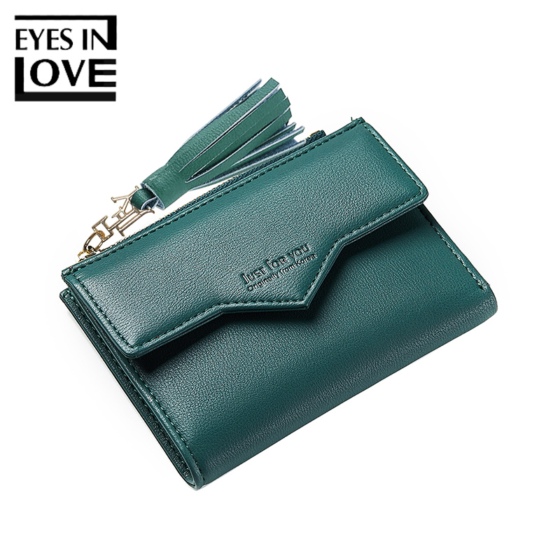 Eyes In Love Vintage Women Leather Wallet Tassel Envelope Style Lady Bags Card Holder Casual Wallets For Girl Solid Female Purse