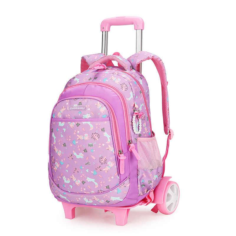 Księżniczka dzieci szkolne zestaw toreb Mochilas dziecięce plecaki z 2/6 koła na kółkach na kółkach plecak dla dziewczyn plecak hurtownia