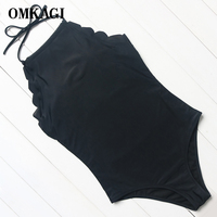OMKAGI Brand Solid Black Wave Lace One Piece Swimsuit Women Monokini Swimwear Summer Bandage Beach Wear
