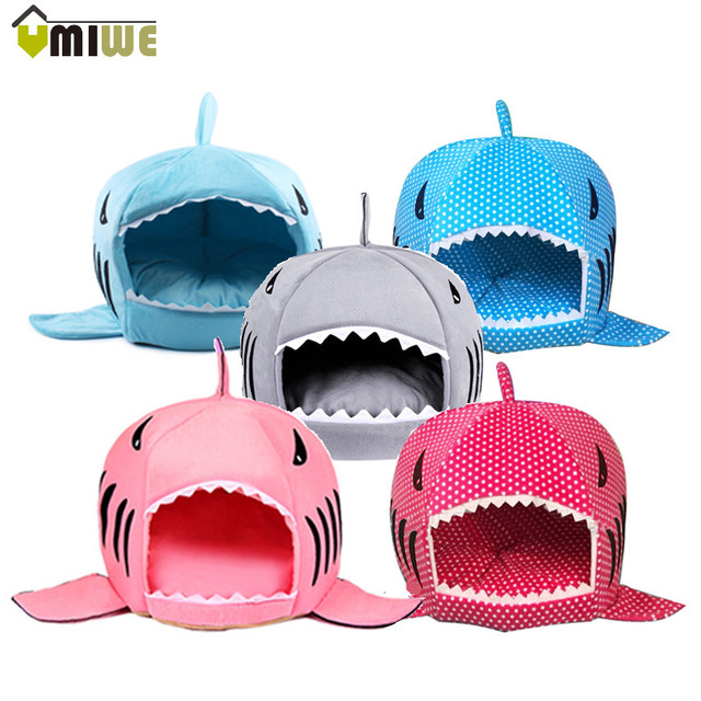 Winter Warm Soft 2 Size Dog Cat Bed Pets Sleeping Bag Cartoon Shark Cat House Dog Kennel Cushion Sofa Pets Products cama perro