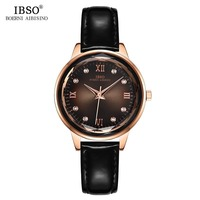 IBSO Women's Quartz Watch Lady Leather Watchband Wrist Watches Fashion Shiny Rhinestone Waterproof Wristwatch 2019 Gift for Wife