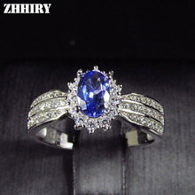 ZHHIRY Natural Blue Tanzanite Ring Genuine Solid 925 Sterling Silver Real Gemstone Rings For Women Fine Jewelry