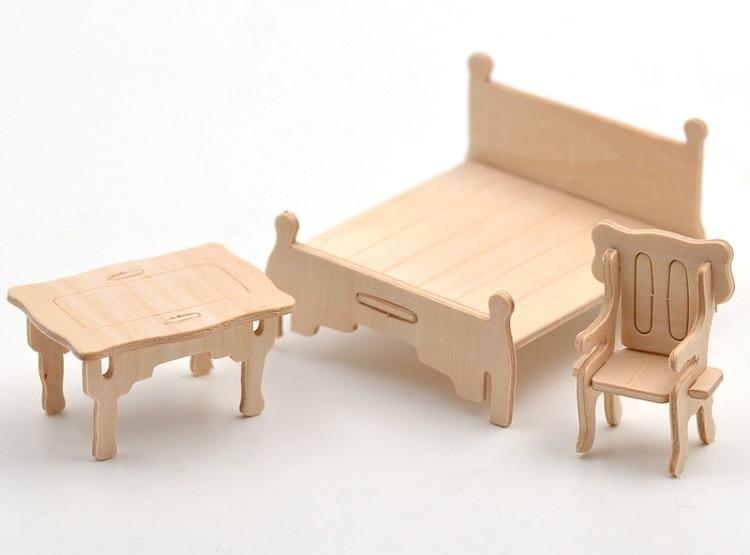 34 pcs /Set,3D Wooden Doll House Dollhouse Furnitures Jigsaw Puzzle Scale Miniature Models DIY Accessories Set Toys