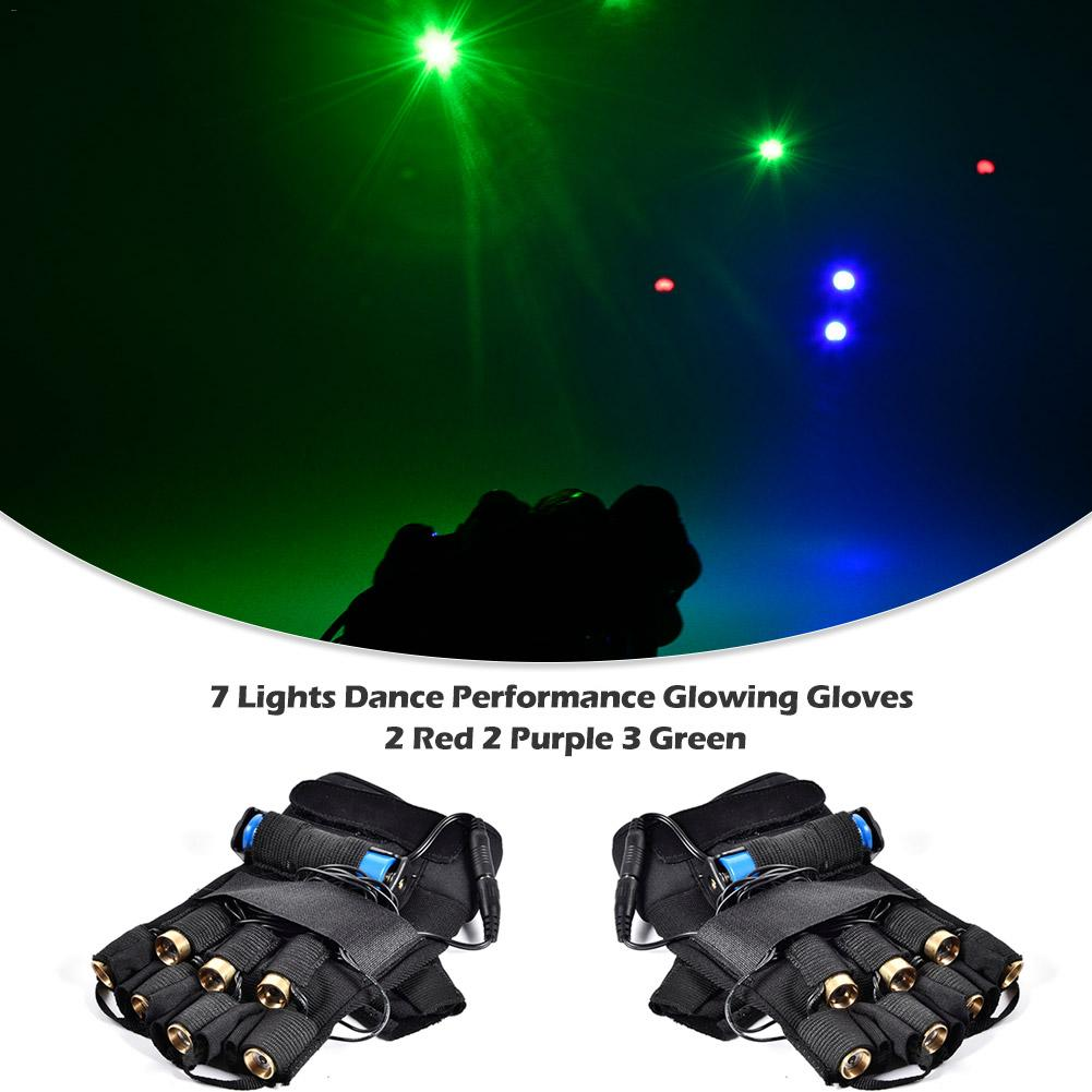 Laser Gloves Dancing Stage Show Glove Light With 7 Pcs Lasers LED Palm Light Three Color For DJ Club/Party/Bars Street Dances EU