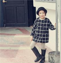 Children Wool Coats For Girls Thicken Warmer Girl Overcoat Plaid Kids Winter Fashion Wool Jackets Baby Girl Clothing 2016
