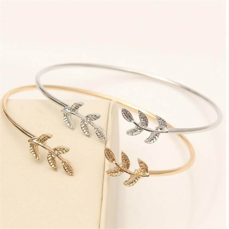 Hot Summer Popular Accessories Metal Cuff Bracelets Vintage Sweet Leaf Open Adjustable Fashion Bracelet Pulseiras Birthday Gift
