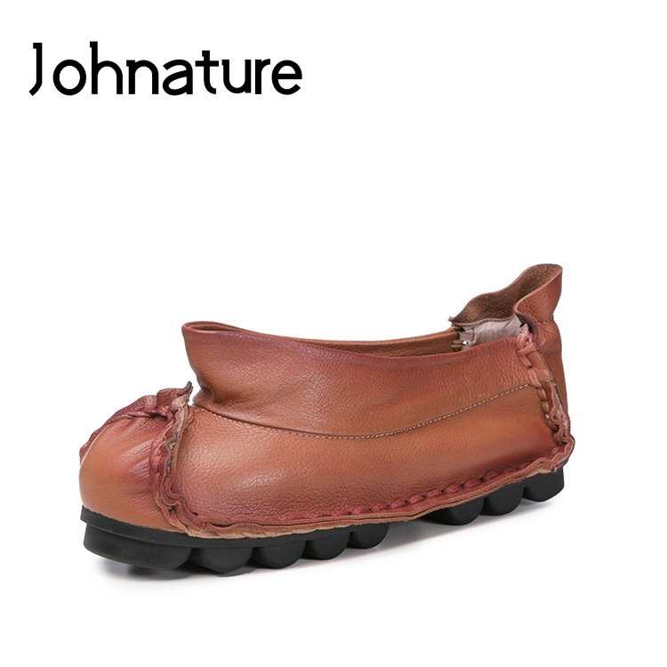 Johnature 2019 Autumn New Genuine Leather Round Toe Casual Retro Slip on Shallow Pleated Fashion Women