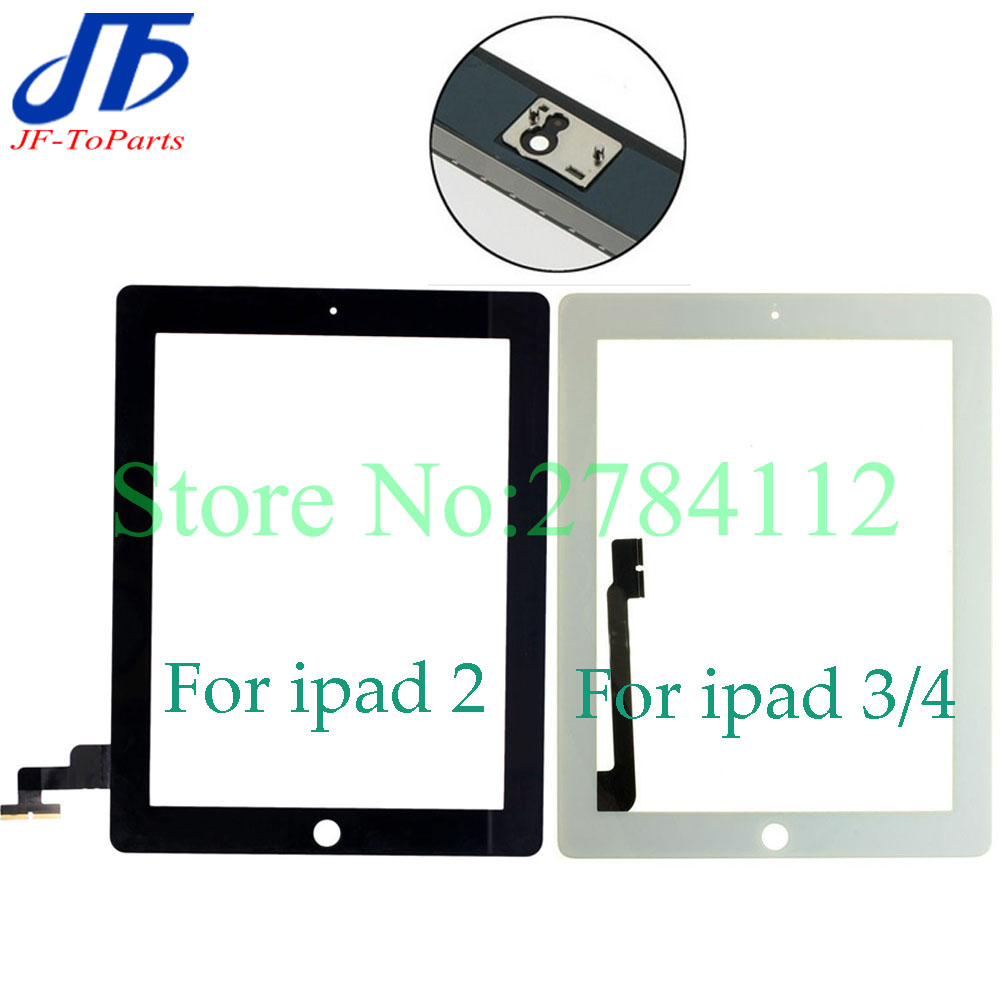 10Pcs touch panel Replacement For iPad 2 / 3 / 4 front Touch Screen Digitizer front outer Glass white black colour with sticker f930got bwd c f930got bwd for using front glass touch panel
