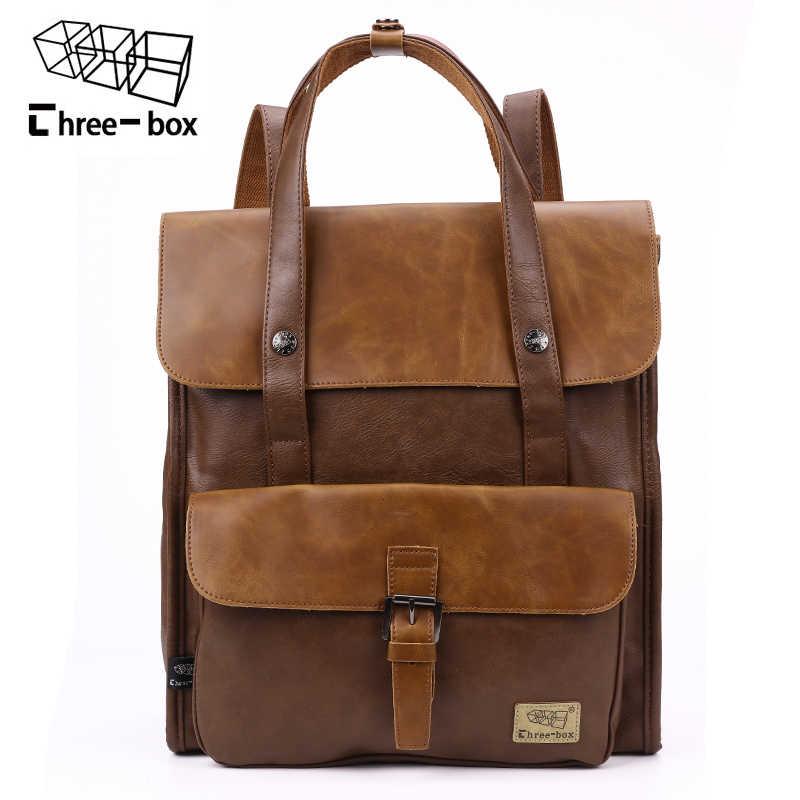 2a125cc9f5bb Мужской школьный рюкзак из искусственной кожи с тремя коробками, винтажные  дорожные сумки высокого качества,