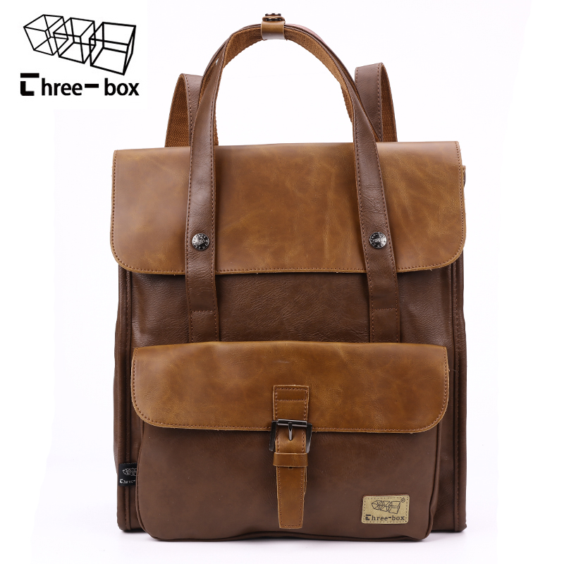 Three-box Brand Men PU Leather School Backpack Femal Vintage Travel Bags High Qu
