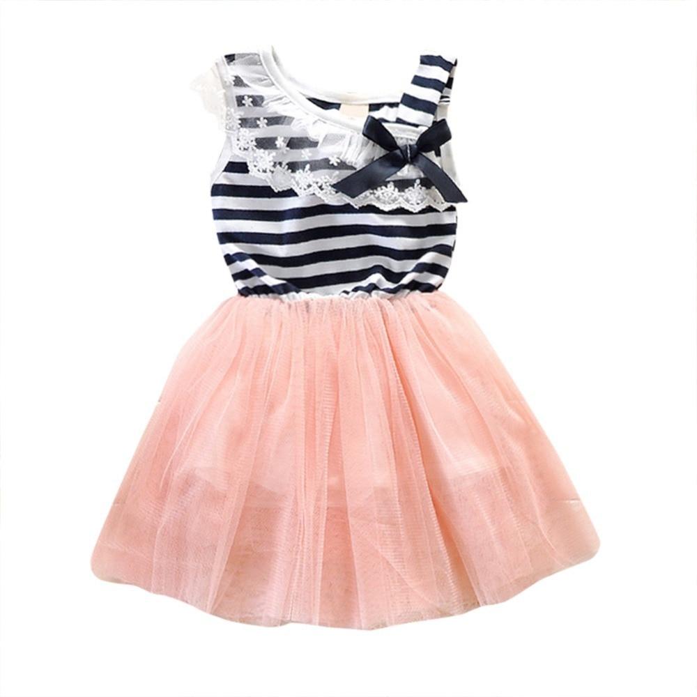 2018 Kids Girls Stripe Lace Tutu Baby Dress Brace Bowknot Ruffle Tulle Baby One-piece Vestido Infantil
