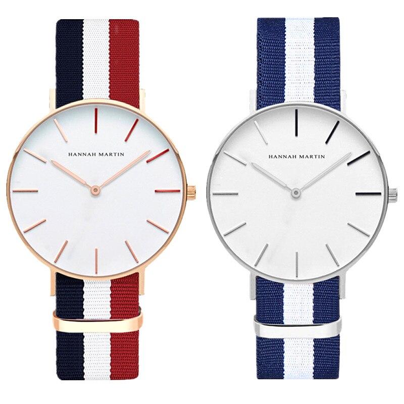 Men Women Dress Watches Luxury Brand Hannah Martin Fashion Nylon Casual Sport Quartz Watch Montre Femme Clock Relogio Feminino