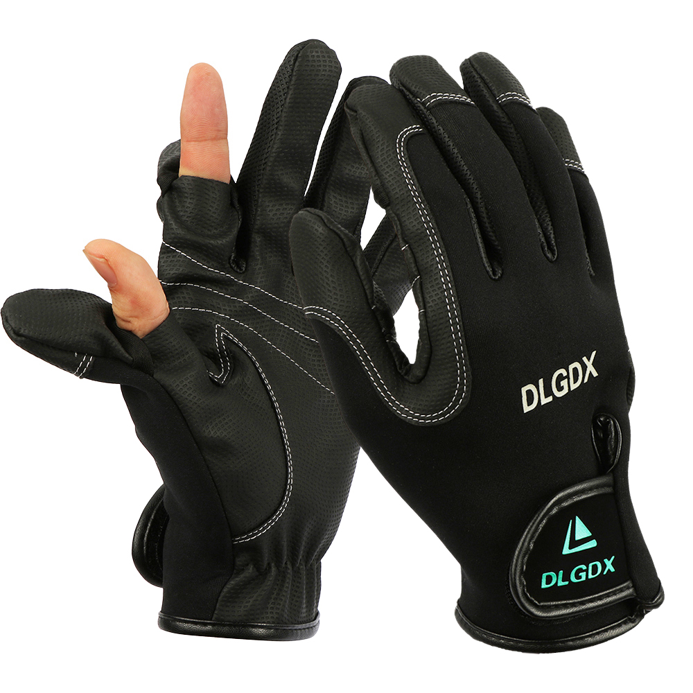 New man outdoor winter fly fishing glove waterproof finger for Winter fishing gloves