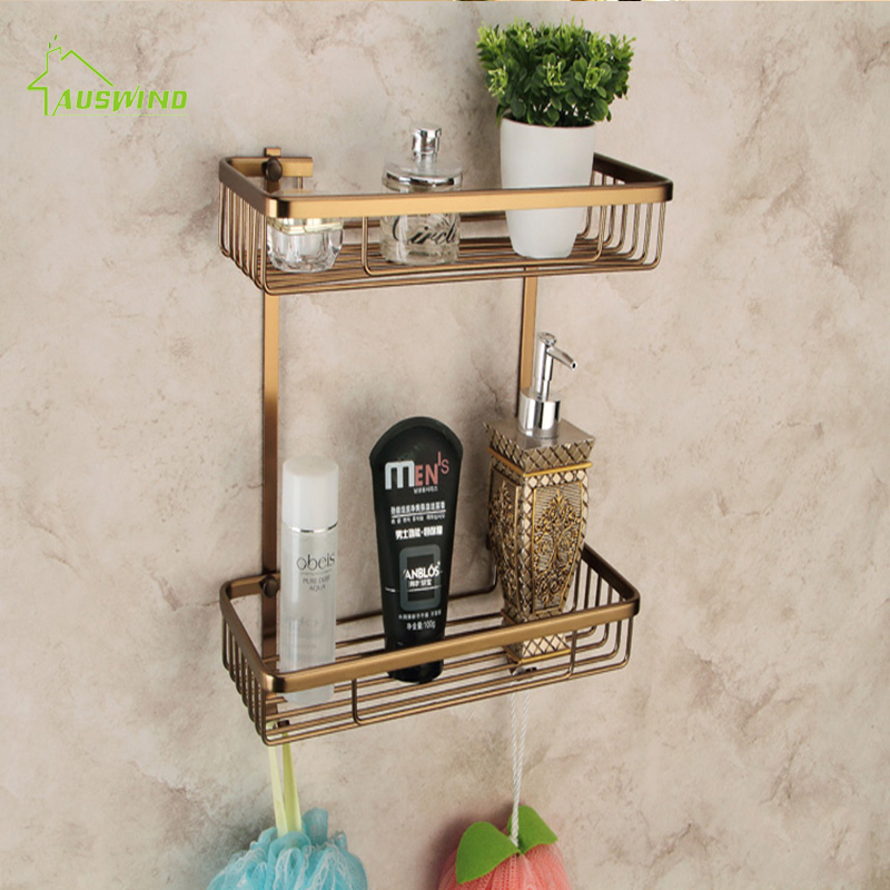 Europe Classic Shelves Double Layer Rack Space Aluminum Wall Bronze Square Bathroom Shelf Storage Rack 300*360*140mmEurope Classic Shelves Double Layer Rack Space Aluminum Wall Bronze Square Bathroom Shelf Storage Rack 300*360*140mm