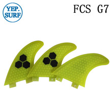 Surf Fins FCS G7 Fin Honeycomb Surfboard Fin Yellow color surfing fin Quilhas thruster surf accessories new style carbonfiber orange carbon strip fcs ii surfboard fins thruster fin set 3 compatible m7 surf fin