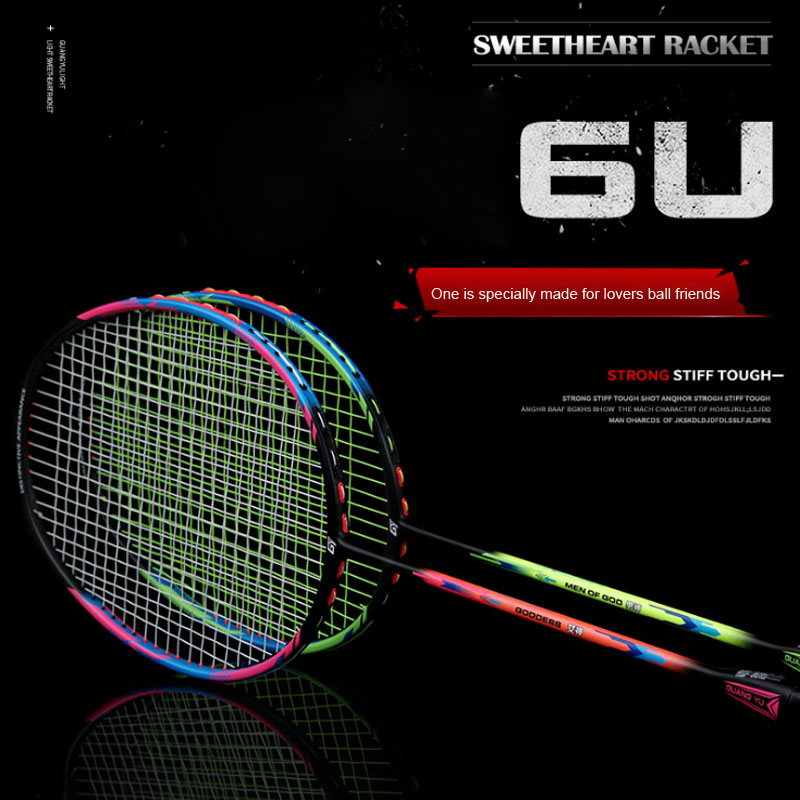 2pcs Double Super Light 6U Badminton Racket Full Carbon Body Holding Male God Goddess Racket