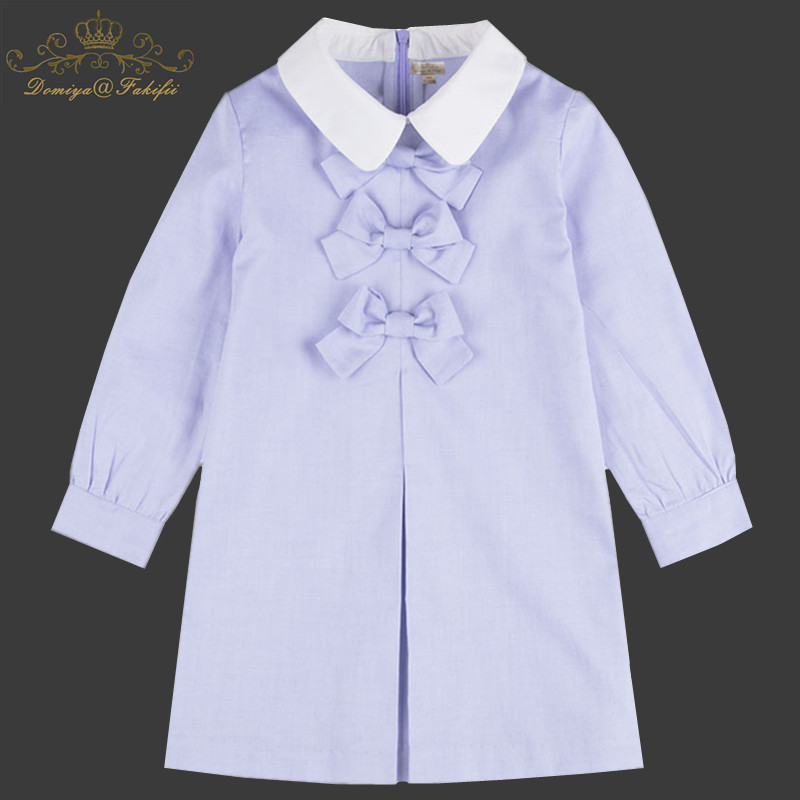 Long Sleeve Cotton Dress Girls Clothes 2018 Brand Designer Spring Autumn Kids Dresses for Girls Bownot Princess Dress Children girl dress children clothing princess dress nova kids clothes girls dress spring autumn long sleeve cotton dress for girls h5803