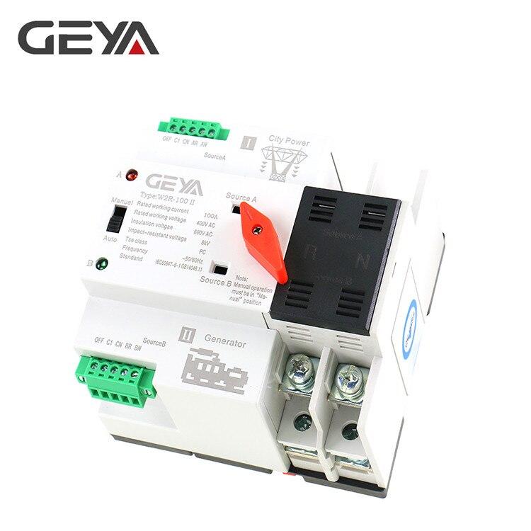 GEYA W2R Mini ATS 2 p Commutateur De Transfert Automatique Électrique Sélecteurs Double Interrupteur D'alimentation sur Rail Din Type ATS 63A 100A