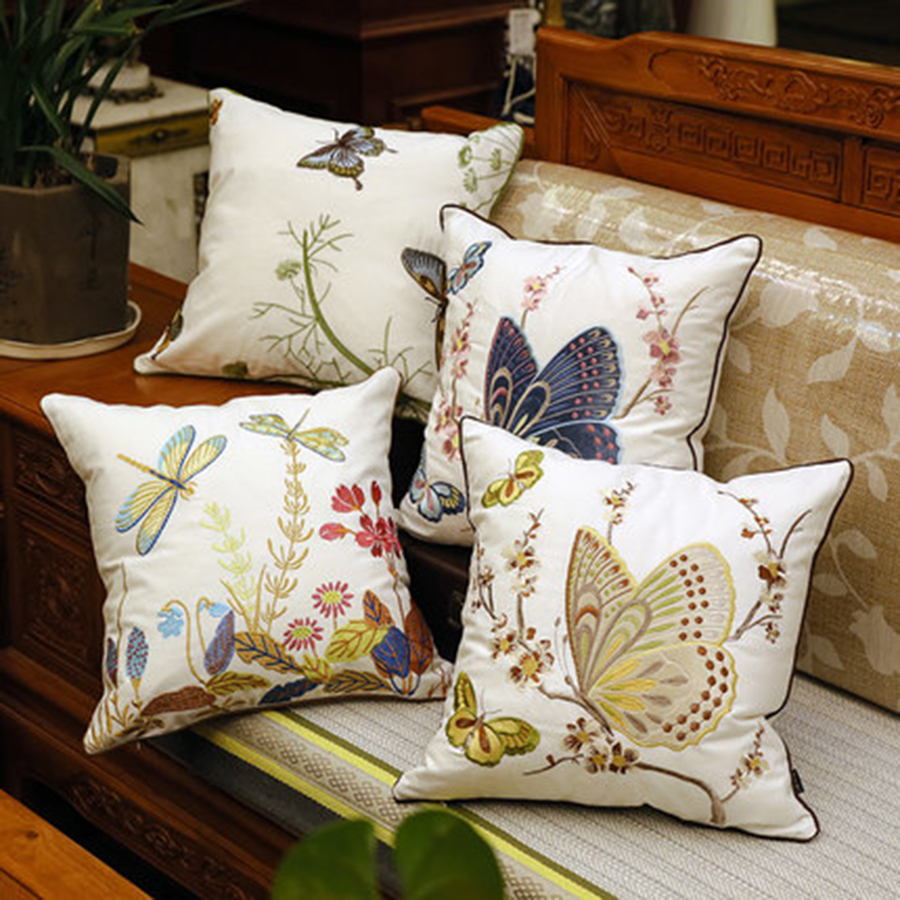 Cojines Para Us 29 91 49 Off Embroidered Decorative Butterfly Pillows Seat Chair Cushion Luxury Pillow Pads Cojines Para Sofa Household Items 50z0049 In Cushion