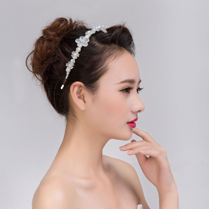 Elegant simulated pearl crystal beads white flower hairband wedding elegant simulated pearl crystal beads white flower hairband wedding tiara handmade silver color headband bridal hair accessories in hair jewelry from mightylinksfo