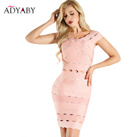 Sexy Party Dress Summer 2018 New Arrival Bodycon Bandage Dress Clubwear Hollow Out V Neck Sheath Fashion Slim Dresses For Women