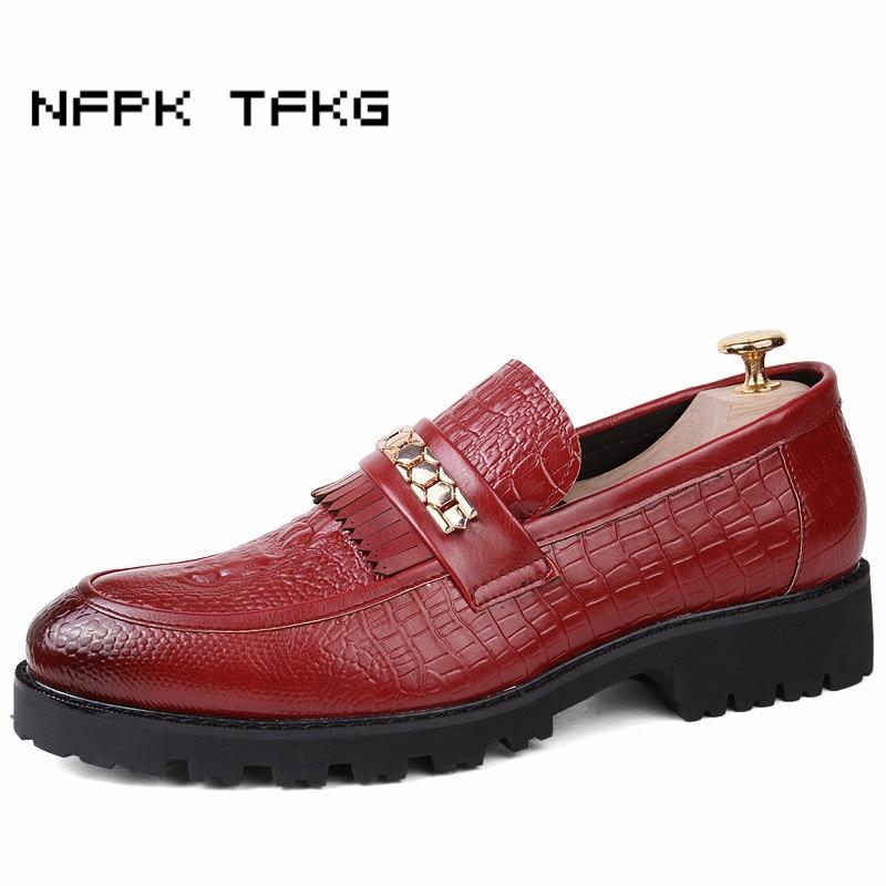 В британском стиле модная мужская Свадебная вечеринка дышащая обувь из натуральной кожи Нескользящие без шнуровки Туфли в британском стил...