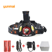 8000 Lumen XM-L T6+2COB LED Rechargeable Head Torch 4Mode Headlamp Flashlight Head Light+2x 18650 Batteries US/EU/AU/UK Charger