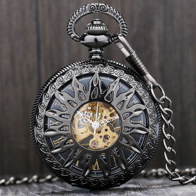 Black Beautiful Retro Pocket Watches Mechanical Pendant Watches Men Women Clock