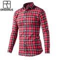 ERIDANUS 2016 Men Plaid Shirts Autumn New Arrival Slim Breathable Long Sleeve Man Shirt Casual Fashion Dress Men's Shirts M444