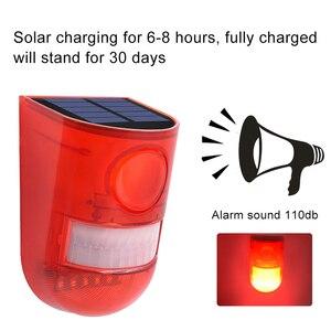 Image 3 - Солнечная сигнальная лампа 110 дБ, Предупреждение ющий звук 6 светодиодов, красный светильник IP65, водонепроницаемый датчик движения, предупреждающий светильник s для секретной стены склада